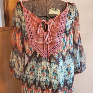 Gibson Sheer Multi Colored Blouse Size S